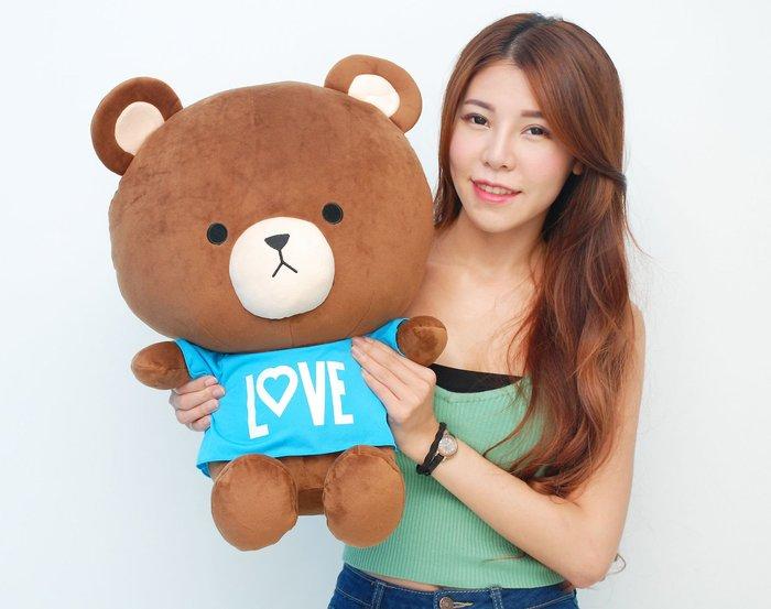 拉拉小站~可愛小熊大娃娃~TOM熊大玩偶~高55cm~大頭熊~生日禮物~最熱門商品