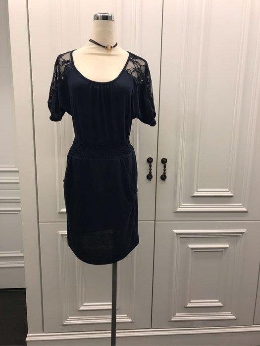 藍色蕾絲休閒洋裝