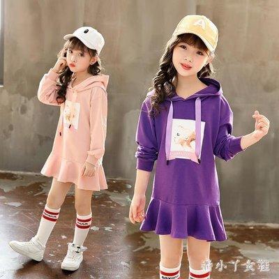 兒童秋裝 中大童女童新款韓版時髦衛衣洋氣連帽上衣中長款 df2901