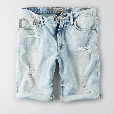 美國百分百【American Eagle】AE 牛仔 短褲 五分褲 牛仔褲 單寧 刷色 抓破 破壞 淡藍 G413