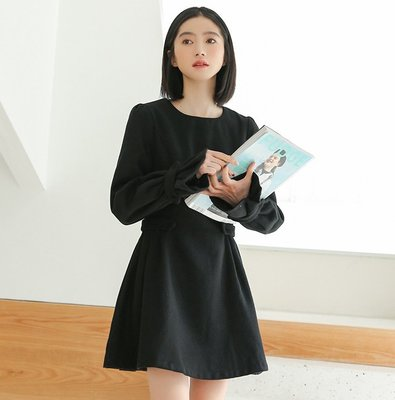 SeyeS  NYLON基本款設計感袖綁帶法式黑色洋裝