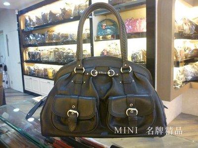 ::迷你名牌精品店:: Christian Dior CD全牛皮 黑色 肩背包 手提包 醫生包 雙口袋 8.5成
