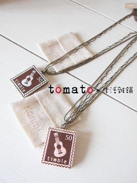 ˙TOMATO生活雜鋪˙日本進口kanmi吉他郵票圖樣皮質項鍊(出清)