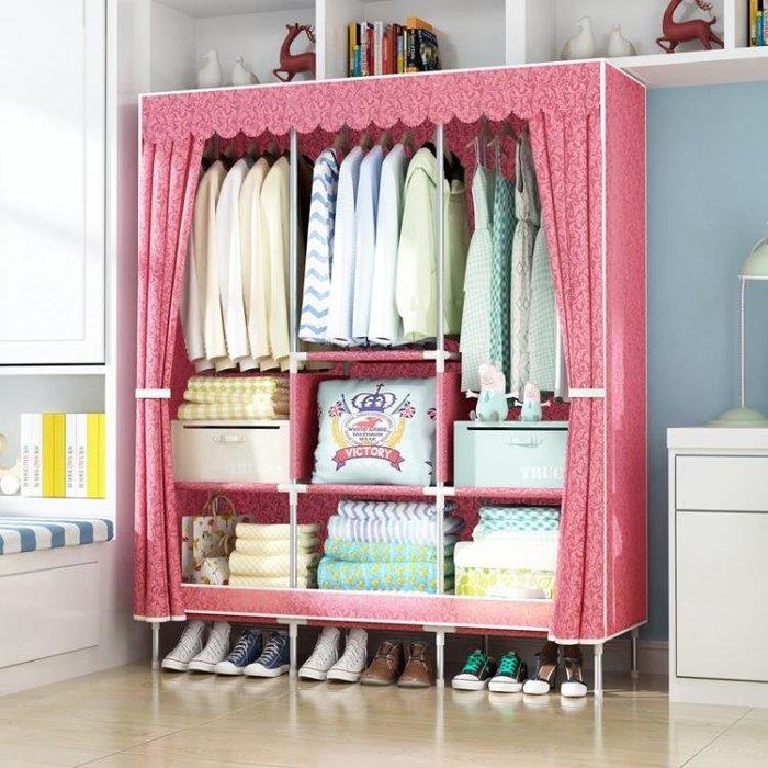 簡易布衣柜單人布藝鋼管組裝經濟型簡約現代學生宿舍加粗加固 NMS