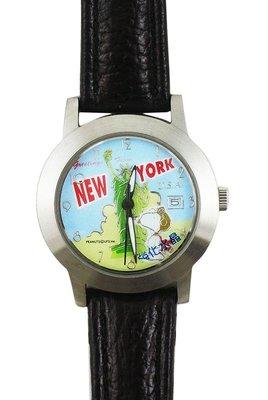 【卡漫迷】 史奴比 手錶 皮革 黑色 ㊣版  史努比 男錶 女錶 自由女神 紐約 卡通錶 Snoopy 原價打七折 出清