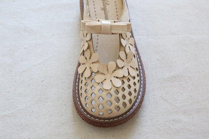 創意夏季女鞋 森女文藝復古鏤空花瓣厚底大頭鞋舒適透氣百搭增高休閑女鞋涼拖鞋