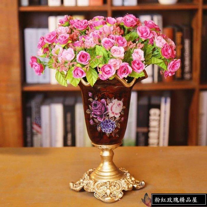 粉紅玫瑰精品屋~歐式高檔宮廷家居花瓶擺飾~