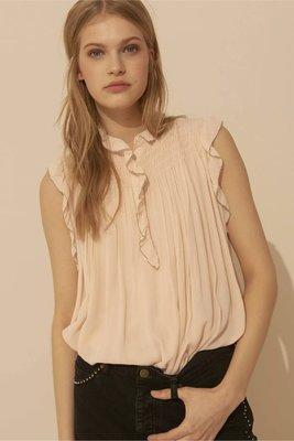 全新法國品牌 - ba&sh 裸色荷葉滾邊無袖絲衫上衣 Glimmer kiiTO size0