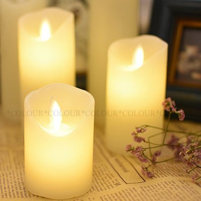 LED【高10cm】直徑5.3cm 光面斜口搖擺 電子蠟燭燈 生日創意 浪漫求婚氣氛※ COLOUR歐洲生活家居 ※