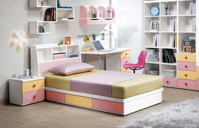 CH135-1 安妮塔3.5尺床片型&書架型單人床/大台北地區/系統家具/沙發/床墊/茶几/高低櫃/1元起