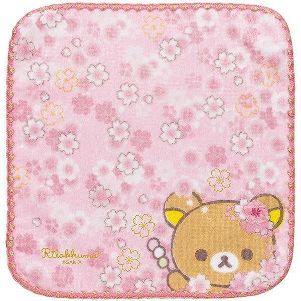 日本SAN-X 限定拉拉熊櫻花粉刺繡方巾手帕--秘密花園