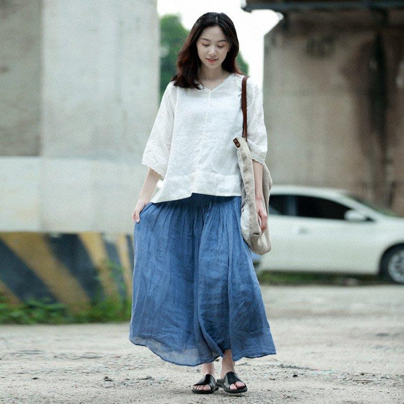 ||一品著衣|| 愜意自白襯衫在春夏新款全亞麻寬松百搭短袖t恤襯衫棉麻風格上衣女