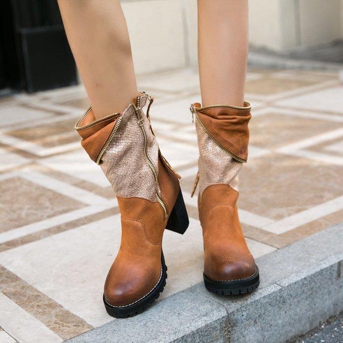 ~皮皮創~原創設計手工鞋。歐美潮款真皮高跟短靴高跟鞋流蘇靴馬丁靴英倫風做舊拼色鉚釘機車靴