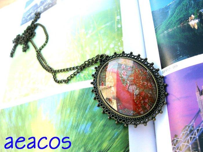 AEACOS@古董 古著 vintage retro MODs 好美 孔雀 彩繪 菱形切割面 古銅色 花邊 橢圓 項鍊