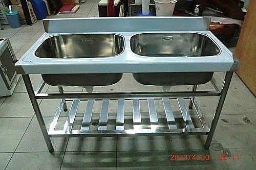 樂居二手家具館 全新雙槽流理台* 洗手沖水台 /白鐵生財器具買賣/ 2手貨拍賣BOSS機