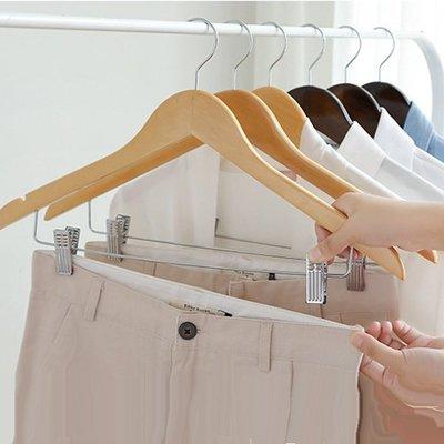 衣架【RPE016】高級楓木夾子衣褲架45cm 手工 有桿 褲夾 洋裝 外套 (加大款/男款) 收納女王