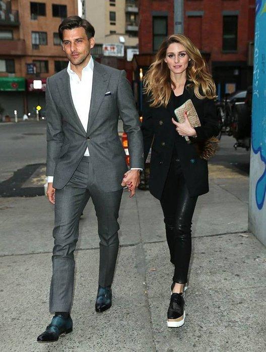 Olivia Palermo Adriano Goldschmie Legging Ankle黑色仿小羊皮柔軟彈性牛仔褲