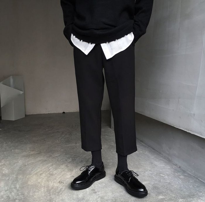 【NoComment】韓系街頭 質感簡約 黑色八分直筒休閒褲 Uniqlo Forever21
