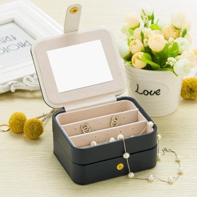 便攜式首飾盒小巧簡約韓國耳環耳釘戒指飾品收納珠寶盒子   全館免運