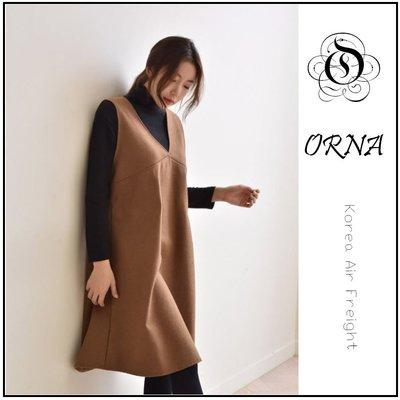【ORNA 爾瑞菈】韓國空運 兩件式針織+V領毛呢背心洋裝套裝組