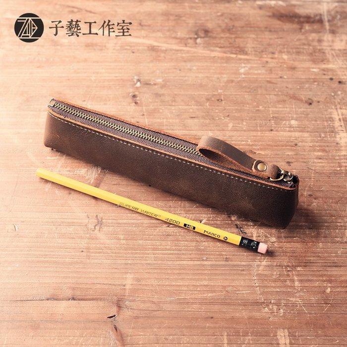 瘋馬皮頭層牛皮小巧簡約文具袋鉛筆圓珠筆鋼筆真皮復古筆袋003