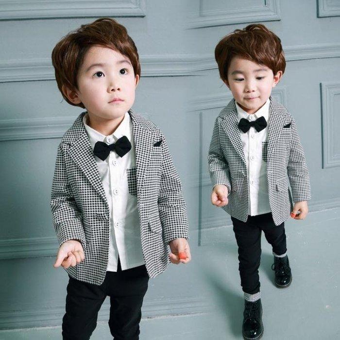 男童西服套裝春秋款小男孩潮寶寶花童禮服兒童西裝1-2-3-4-5歲半 【優の館】