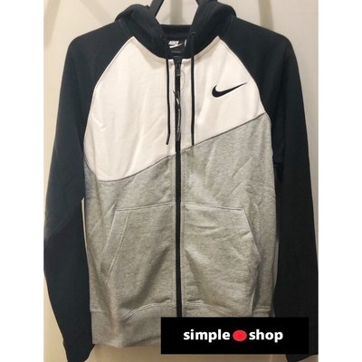 【Simple Shop】NIKE LOGO 刺繡 大勾 撞色 拼接 連帽外套 棉質外套 運動 黑 BV5300-064