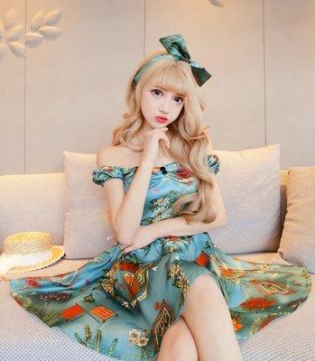 台北當日出貨〔靚衫〕芭比娃娃複古印花一字領短袖洋裝.蓬蓬裙.附頭巾(藍6521)現貨S.M.零碼出清特價