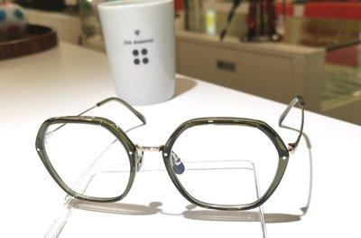 #YELLOWS_PLUS #ELLEN #六角型 #50口20 #日本製造 #手工眼鏡#純鈦金屬鏡腳1. #綠膠框面淡金色鏡腳