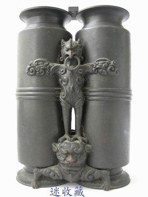 迷收藏...明治時期英雄(鷹熊)(雙聯)銅雕花瓶