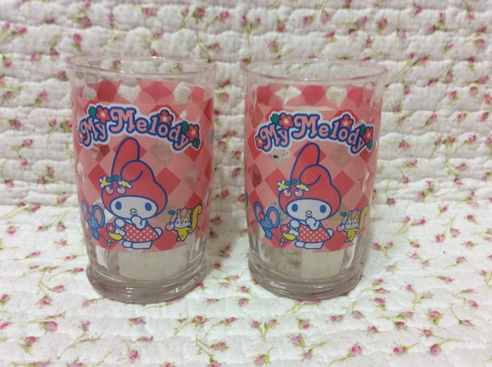 Sanrio My Melody 美樂蒂櫻桃格子玻璃杯《2003年商品》特價出清