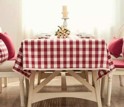 LIKE zakka日式桌布台布餐桌布紅色防水桌巾 家飾棉麻蕾絲包邊 櫻桃紅格紋 130*220 訂製