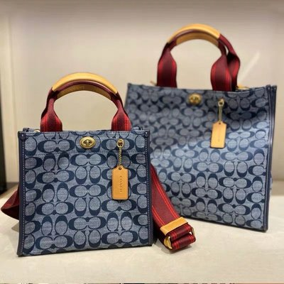 (Outlet特惠)COACH 3664 新款女士Chambray藍色牛仔帆布托特包 手提包 大號斜挎包 附購買證明