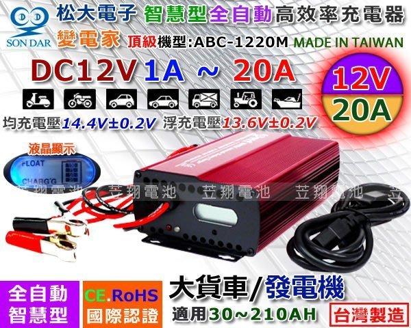 【鋐瑞電池】變電家 ABC-1220M 松大電子 汽車電池 充電機 電瓶 充電器 12V20AH 全自動 微電腦 大