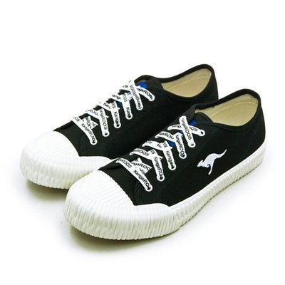 利卡夢鞋園–KangaROOS 帆布厚底餅乾鞋--CRUST藍標系列--黑米--91260--男