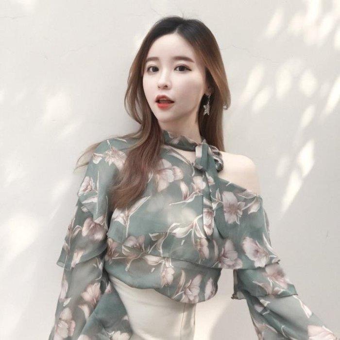春裝2018新款女韓風chic小清新露肩雪紡衫氣質寬鬆顯瘦襯衫上衣潮