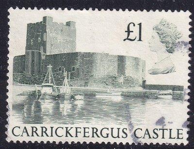 英國1980『1英鎊_卡里克弗格斯城/北愛爾蘭諾曼城堡, 建築風景』信銷票