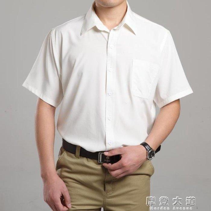 全館免運-夏裝新款中年男短袖襯衫中老年人男寬鬆大碼襯衣爸爸裝老頭衫薄款 【MAX衣捨】