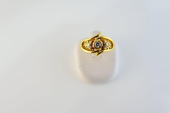 [吉宏精品交流中心]15分 天然鑽石 黃K金 造型 戒指