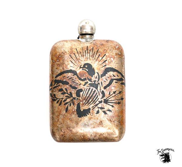 GOODFORIT / 美國The Sneerwell  War Eagle Noble Flask戰鷹古綠鏽手工酒壺