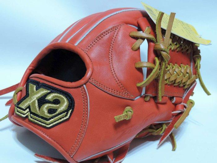 貳拾肆棒球-日本帶回展示会限定品Xa nax TRUST 硬式內野手手套/橘紅/日製