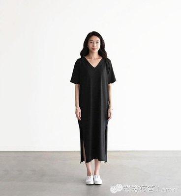 [免運]長裙 夏新款莫代爾開叉長裙修身大碼寬鬆A字 「粉色世家」