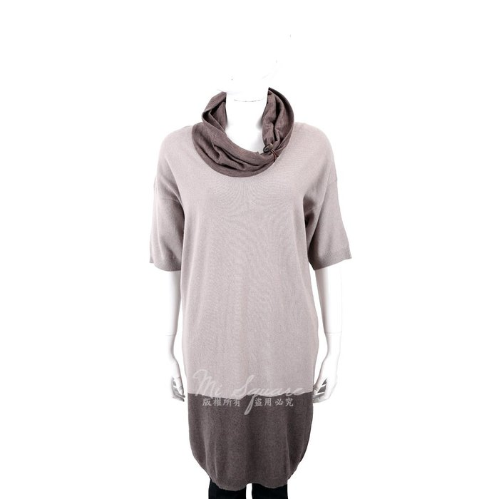 米蘭廣場 FABIANA FILIPPI 羊毛拼接鬆高領可可灰長版上衣/洋裝 1240167-06