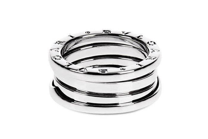 【JHT 金宏總珠寶/GIA鑽石專賣】正版真品 BVLGARI 三環戒 #47 白銀(2R00011)