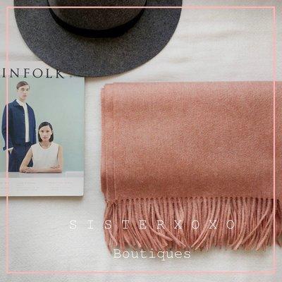 Sis KOREA style  訂製色名媛風 瑞典風日系極簡氣質純色 100%羊羔絨厚實大圍巾披肩 蓋毯 外銷日本訂單