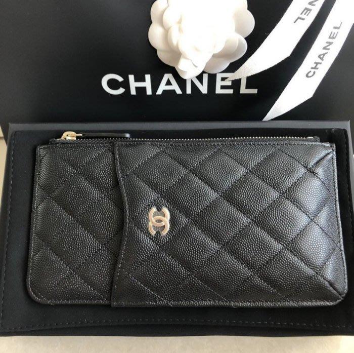 Chanel AP0225 O Miscellaneous 荔枝紋拉鍊卡片夾 黑金