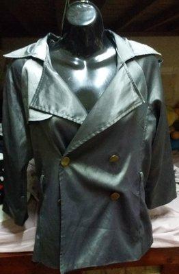 銀鐵灰雙排扣七分袖風衣外套