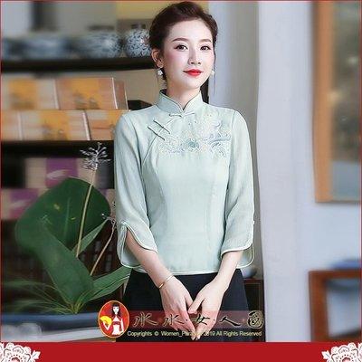 【水水女人國】~另人驚豔。優雅中國風美穿在身~春藤。復古立領豆綠雪紡繡花時尚百搭改良式修身七分袖旗袍唐裝上衣