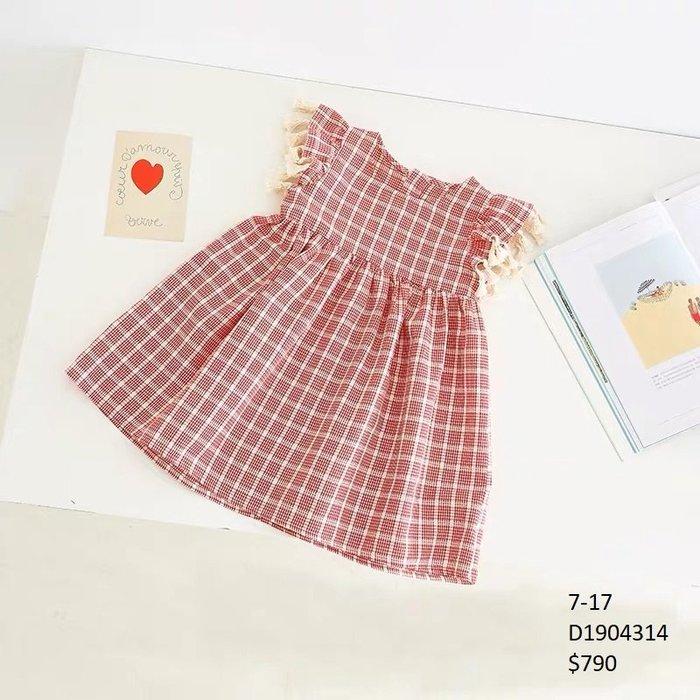 【Girl】 JC BABY 甜美格紋流蘇洋裝(橘紅色) #D1904314