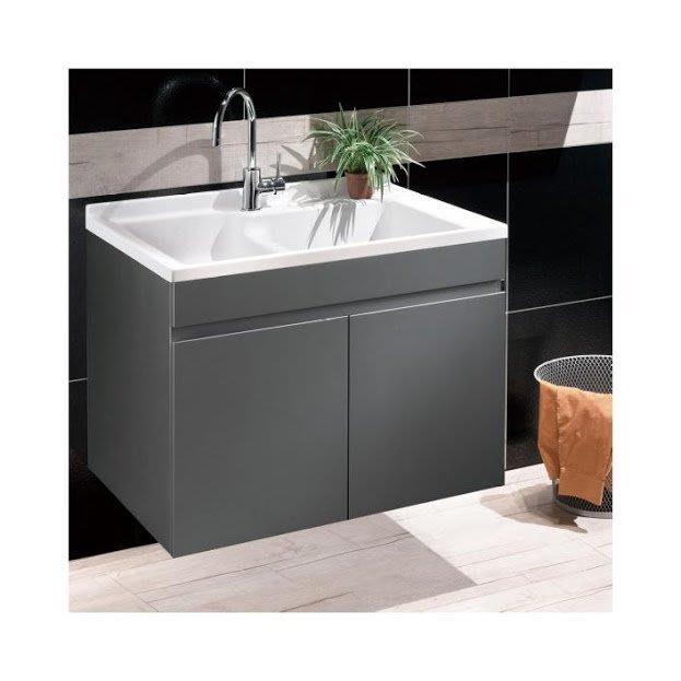 《101衛浴精品》台灣製造 100%全防水 80cm 雙槽 人造石洗衣槽 星辰銀鋼琴烤漆 浴櫃組 LC-80【免運費】